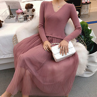 New Fashion Autumn Winter 2018 Maternity Clothes Party Nursing Dress Knitted Lace Breastfeeding Dress for Pregnant Women Outfits