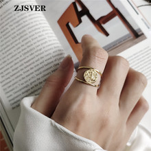 ZJSVER Korean Jewelry 925 Sterling Silver Rings Gold Color Retro Simple Double Layer Mermaid Opening Adjustable Women Ring zjsver korean jewelry 925 sterling silver rings gold color retro simple double layer mermaid opening adjustable women ring