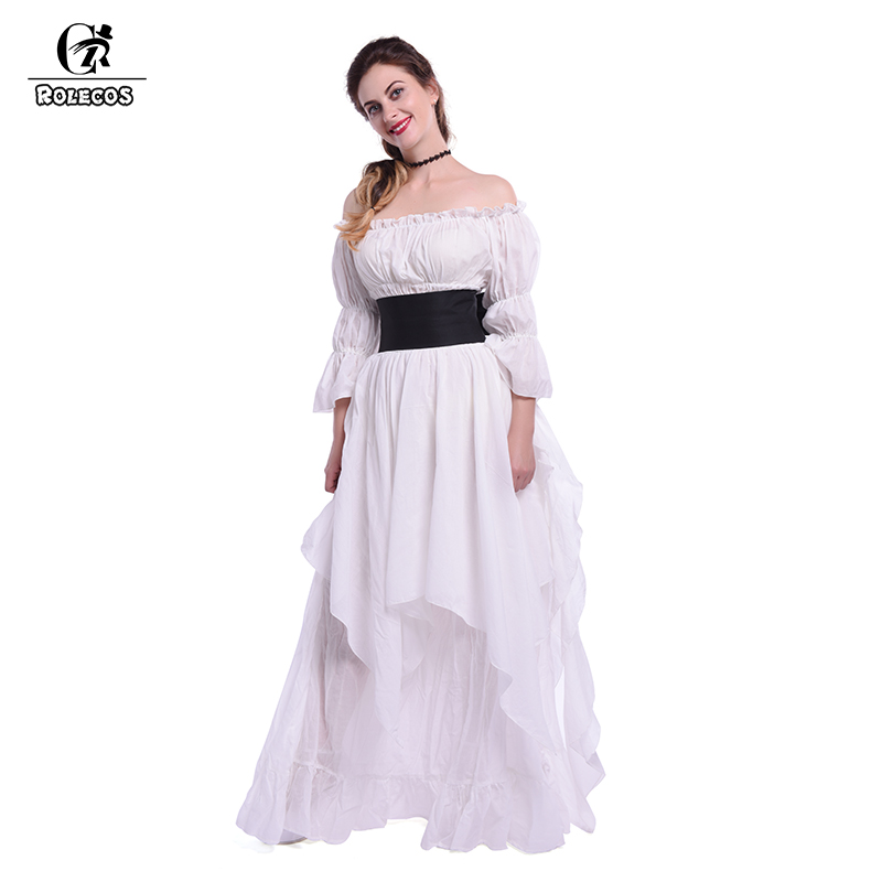 ROLECOS 2017 New Women Dress Summer Cotton Lolita Princess Nightgown and Vintage Summer Party Medieval Dress Victoria Dress