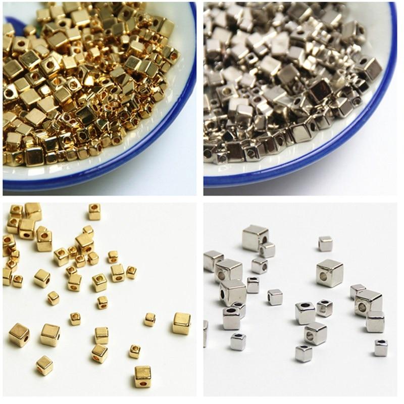 Perles acryliques en graines carrées pour la fabrication de bijoux, 500 pièces 3mm 4mm 5mm couleur or/argent