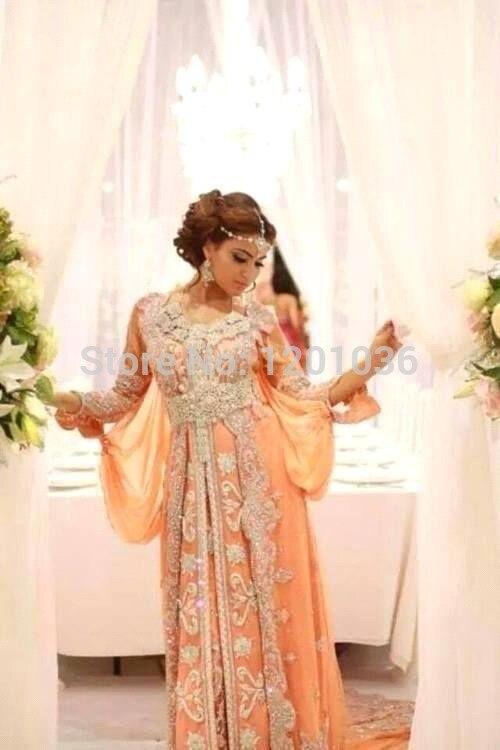 2016 Muslim Evening Dresses A line V neck Orange Chiffon Appliques Bead font b Islamic b