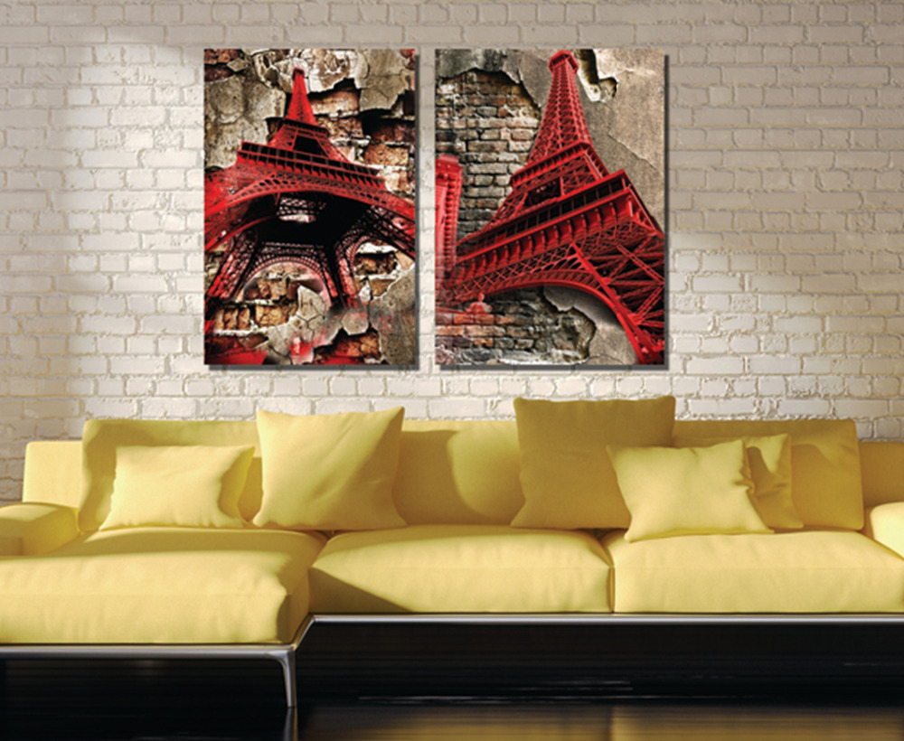 2 Pieces no frame Canvas Prints Eiffel Tower Statue of Liberty Pisa ...