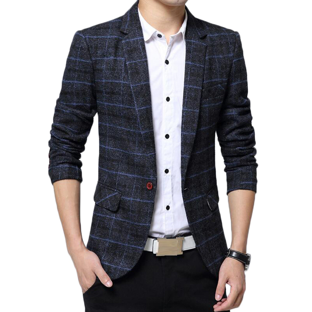 Blazer Men Slim Fit Suit Jacket Brand Costume Homme Mens Lattice