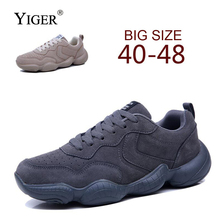 YIGER New Men Mesh Shoes Large Size fashion shoes Lace-up Casual Autumn/Winter Male Leisure comfortable  0177