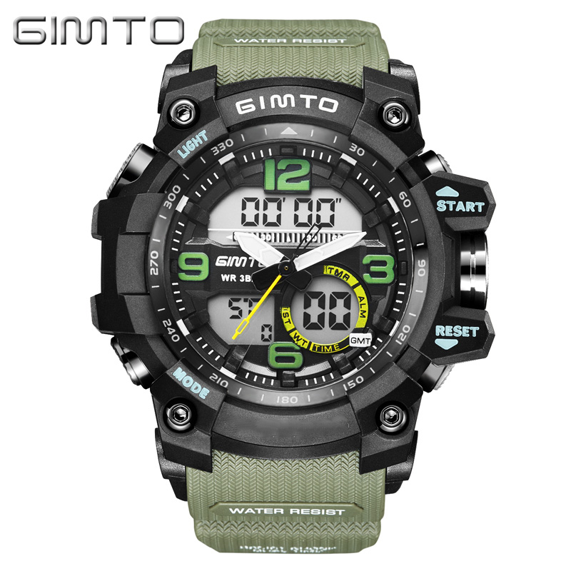 GIMTO Cool Outdoor Sport Digital Watch Men Dual Display Waterproof Silicone Shock Clock Military Male Watches Relogio Masculino