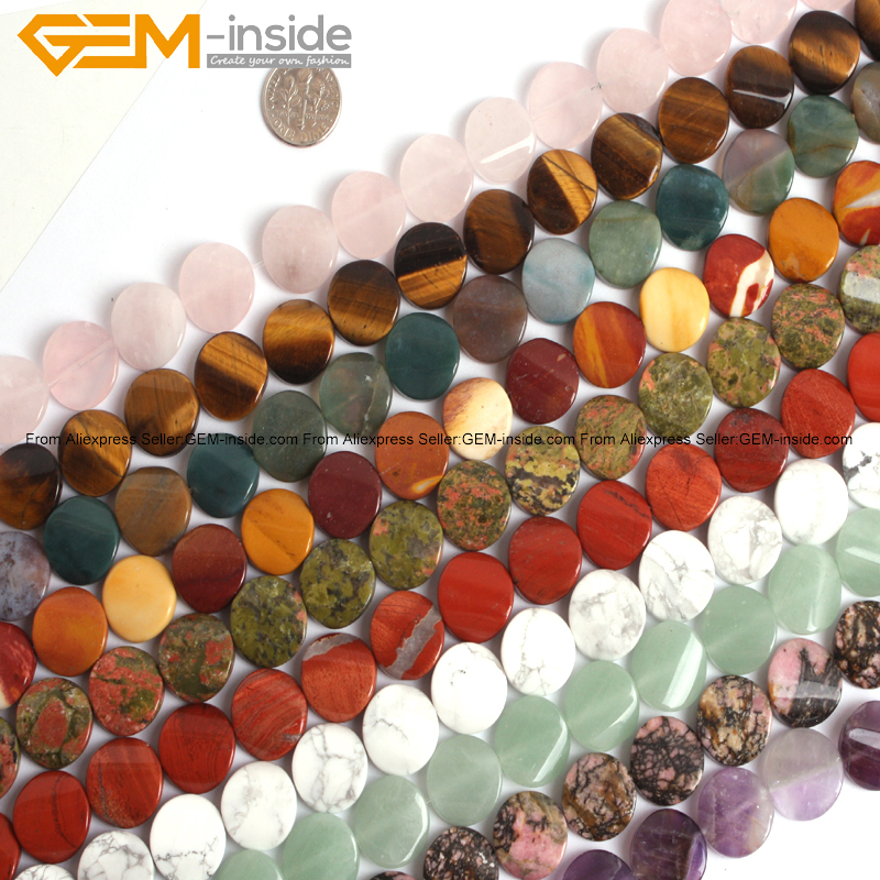 Gem-inside Natural Twist Twisted Coin Stone Beads For Jewelry Making Selectable Stone 16mm 15inches DIY Jewellery