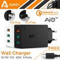 AUKEY Original Rápida Carga 2.0 Carregador de Parede USB 3 Portas Inteligente turbo rápido carregador de celular para samsung galaxy s6 edge xiaomi ue/eua