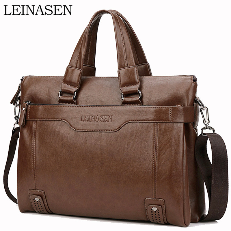 WEIXIER Larger Capacity Shoulder Bag Men Zipper Business Handbag Pocket Soft Leather 15.5'' Laptop Briefcases Messenger Bag