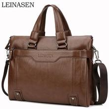 WEIXIER Larger Capacity Shoulder Bag Men Zipper Business Handbag Pocket Soft Leather 15.5 Laptop Briefcases Messenger