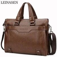 WEIXIER Larger Capacity Shoulder Bag Men Zipper Business Handbag Pocket Soft Leather 15.5'' Laptop Briefcases Messenger Bag