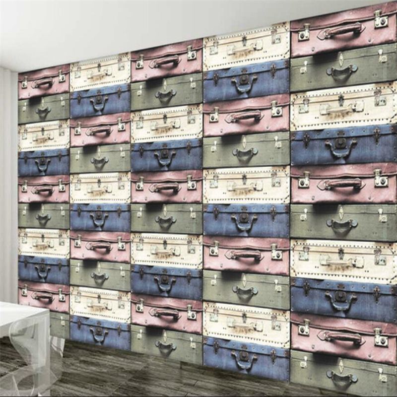 Beibehang Wallpaper Custom Mural Wallpaper Decoration European Style 3D Personalized Suitcase TV Living Room Bedroom Backdrop