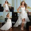 Изысканный пузырь мода seetheart бисером органза перед долго назад высокие низкие свадебное платье HS112