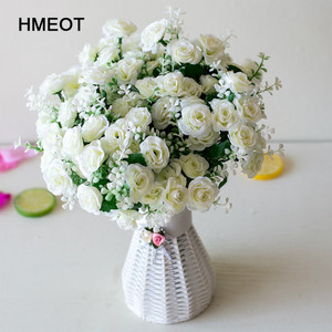 15 head mini roses artificial flower wedding scene layout flowers living room desk home decoration fake flower accessories(China)