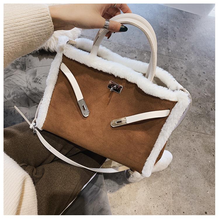 Korean handbag large capacity bucket hand bag designer big tote designer Fur women messengerc winter shopping wool no lock 95