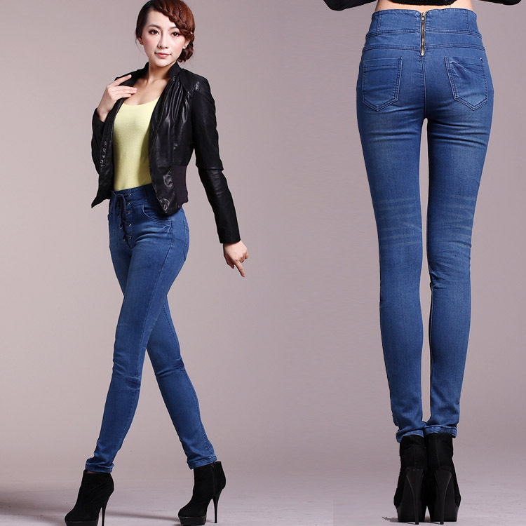 Online Shop High waist jeans female lacing tight-fitting women's ...