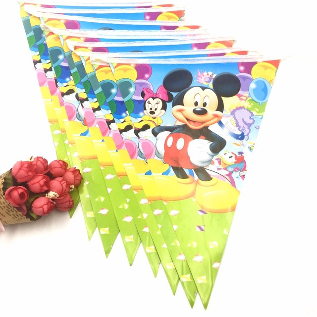 2.5m/set Mickey Mouse Party Supplies Paper Banner Flag Cartoon Kids  Birthday Baby Shower