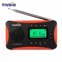 TIVDIO Portable Radio FM MW SW Multiband Radio Receiver MP3 Player With Sleep Timer Alarm Clock