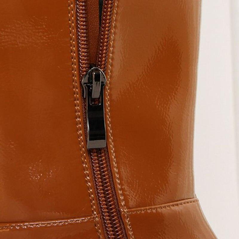 Chaud Verni Appartements 33 Ajouter Noir Au En 40 orange Cuir Taille Garder Femmes Pour Haute D'hiver Chaussures Bottes Genou Kemekiss Fourrure Qualité ZPw6Uqx