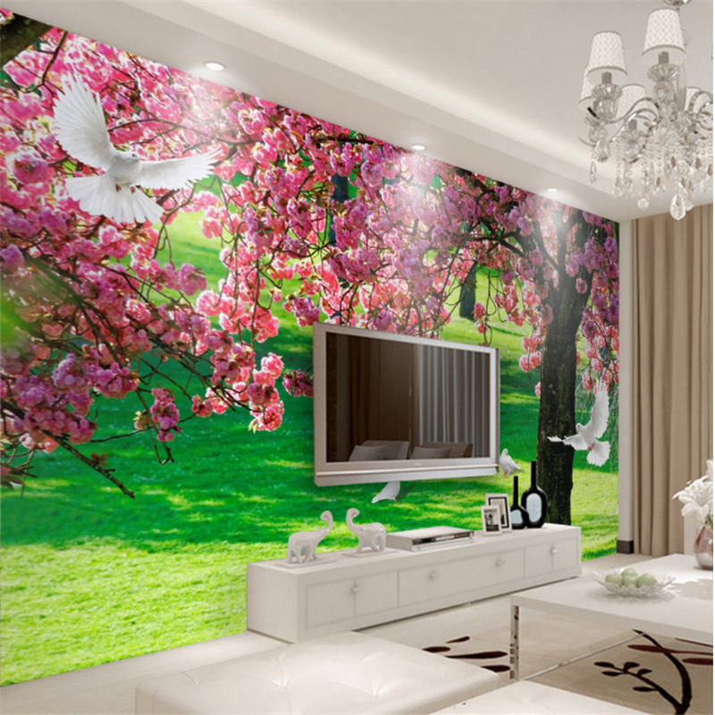 tree living sakura background wall tv mural wallpapers beibehang bedroom custom