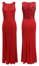 free shipping lady US size 2-14 sleeveless thigh split maxi lace chiffon summer dress 2015 red evening party ball gown