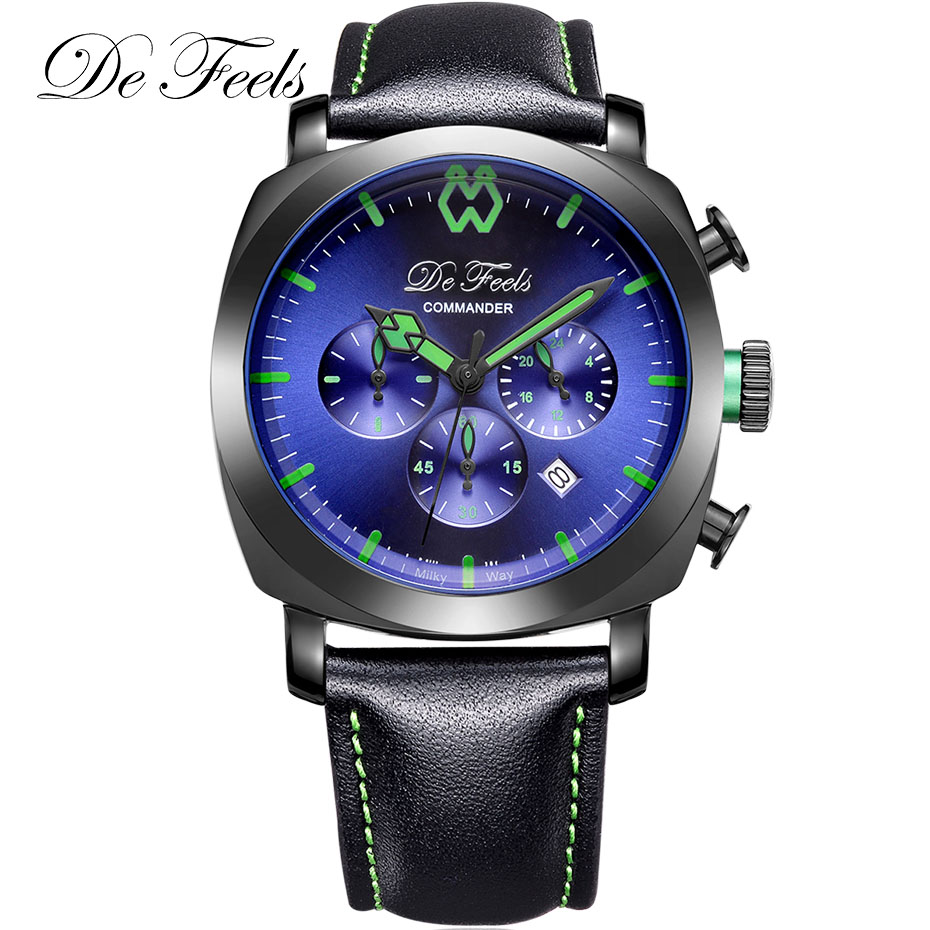 Fashion Men Quartz Watch Genuine Leather Sport Wrist Watches Reloj Hombre 2018 Male De Feels Mens Commander Clock with VD53Fashion Men Quartz Watch Genuine Leather Sport Wrist Watches Reloj Hombre 2018 Male De Feels Mens Commander Clock with VD53