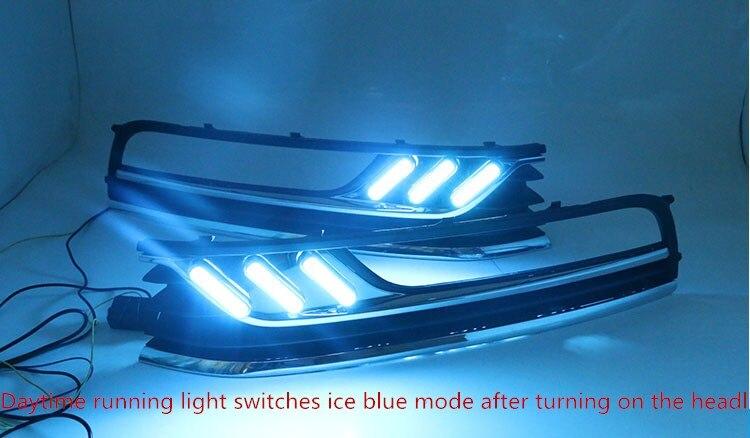 Feu de jour Osmrk led drl pour Volkswagen Passat b7 avec clignotants jaunes mobiles et feu de nuit bleu