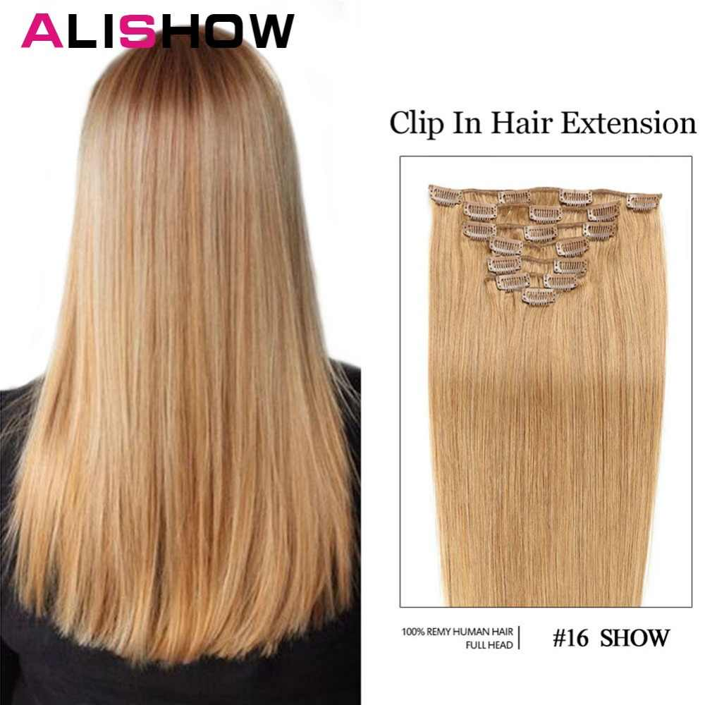 Alishow  100g Straight  Clip In Human Hair Extensions 7pcs Machine Made Remy Hair Clip Ins 100% Human Hair Extension