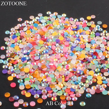 ZOTOONE Multi Colors 1000pcs Flat Back Nail Art Resin Rhinestones Non HotFix For Decorations Accessories