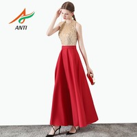 ANTI Robe De Soiree Ever Pretty LM218 New Elegant O neck Sleeveless A Line Red Long Evening Dress Abendkleider 2019 Formal Gowns
