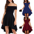 Black All The Rage Skater Dress Women Fashion Asymmetrical Off Shoulder Evening High Low Club Party Dress