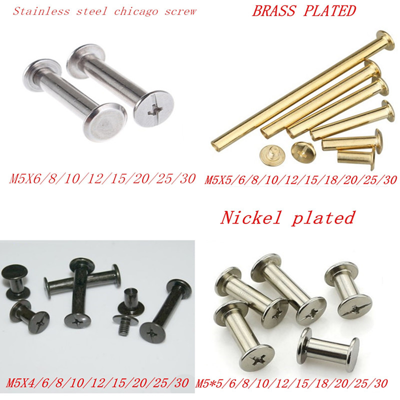 <font><b>10</b></font>-20pcs/lot m5x4-30 stainless steel/ brass plated/ nickel plated/ black <font><b>Sex</b></font> bolt chicago screw book binding post screws image