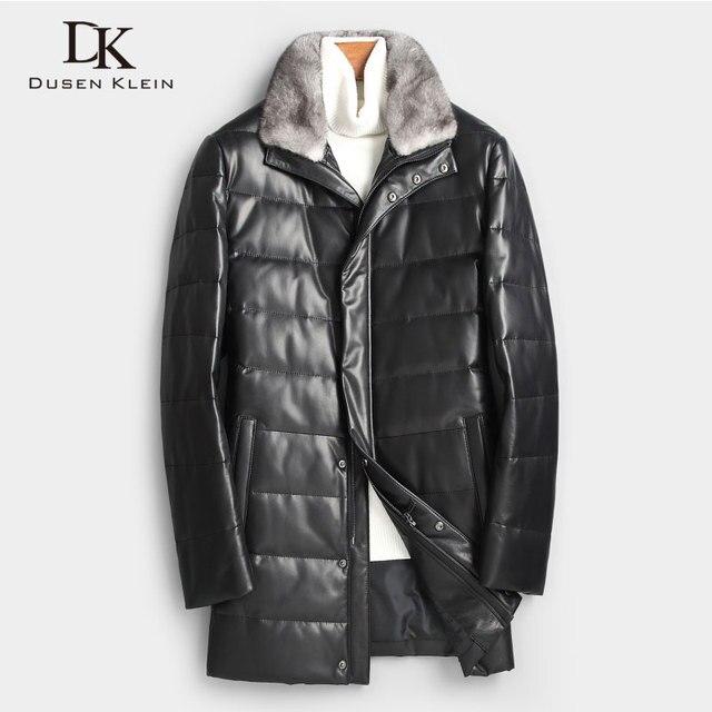 Men Genuine Leather Down Jacket Winter Warm Long Coat Mink Fur Collar  Outerwear Sheepskin 2018 New 6082c98b76aa