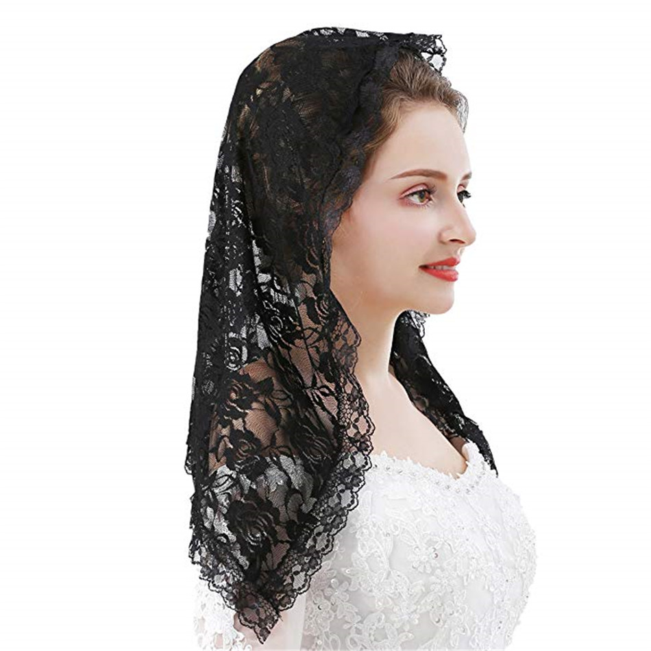 Black Lace Veil Mantilla For Church Catholic Latin Mass HeadCovering Vela Mantilla Negra Voile Dentelle Vela Negra Mantilla 2019