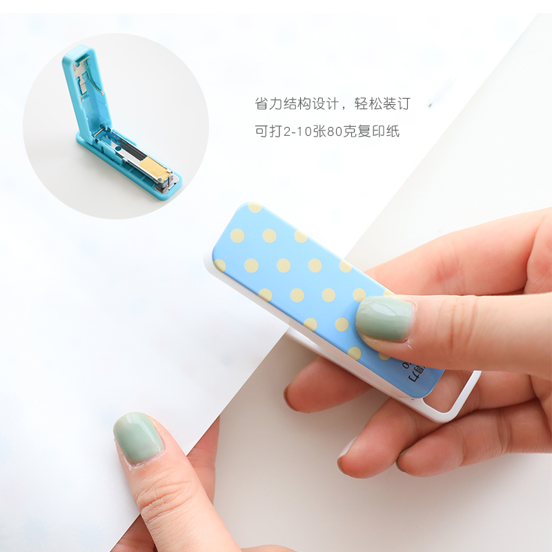 Deli 0450 Compact Labor-saving Stapler Mini Binder Cute Stapler Paper Stapler Office And School Supplies Mini Stationery Set