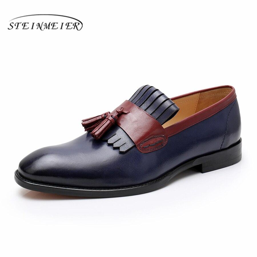 Phenkang mens scarpe di cuoio del cuoio genuino scarpe oxford per gli uomini pattini di vestito di lusso da sposa slipon scarpe francesine in pelle-in Scarpe da cerimonia da Scarpe su  Gruppo 3