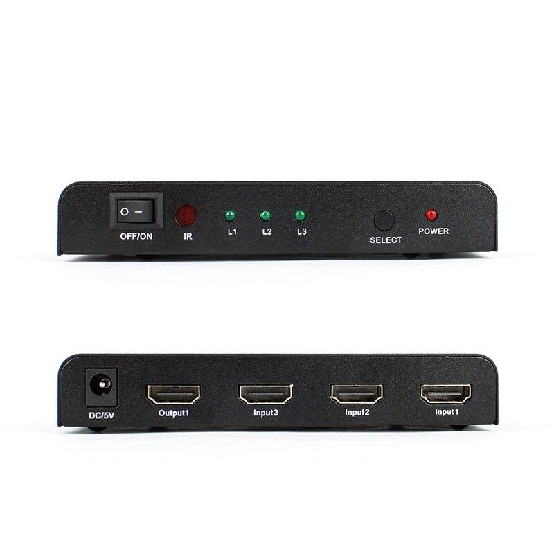 HDMI converter 3 into 1 out, HDMI splitter, mini 3 into 1 HD remote control port enlarge conversion