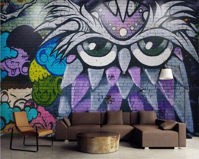 Beibehang Custom Wallpaper Bar Ktv Mural Modern Street Graffiti Art Birds Tv Wall Background Walls D