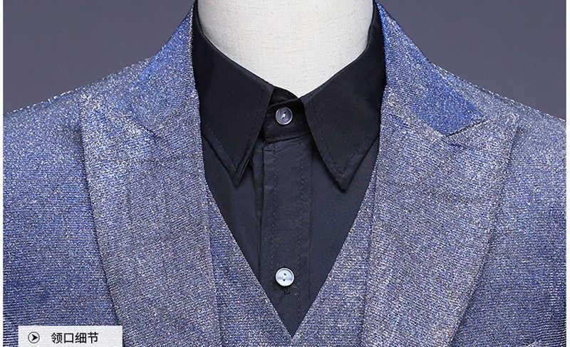 Mens Purple One Button Change Color Mesh Dress Suits Party Wedding Groom 3 Pcs Suit(Jacket+Pants+Vest) Men Costume Mariage Homme