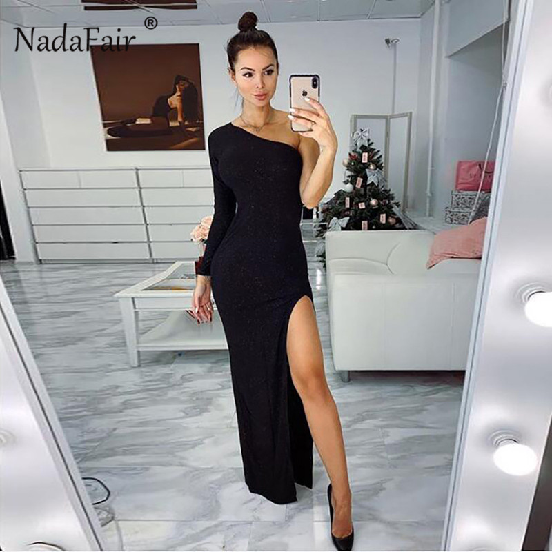 Women's Clothing 2019 Latest Design Nadafair High Split One Shoulder Sexy Club Party Dress Women Red Black Maxi Dress Celebrity Slim Long Bodycon Dress Vestidos