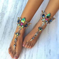 Best lady New Crystal Ankle For One Pcs Bracelet For Beach Vacation Sandals Sexy Leg Chain Female Boho Statement Anklets 3157