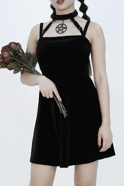 Dark Gothic Witch Five Stars Cross Love Bandage Tie Dress 1