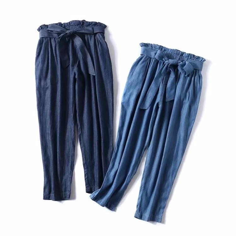 47921 new bow elastic waist bandwidth loose high waist   wide     leg     pants   women's jeans nine   pants   long