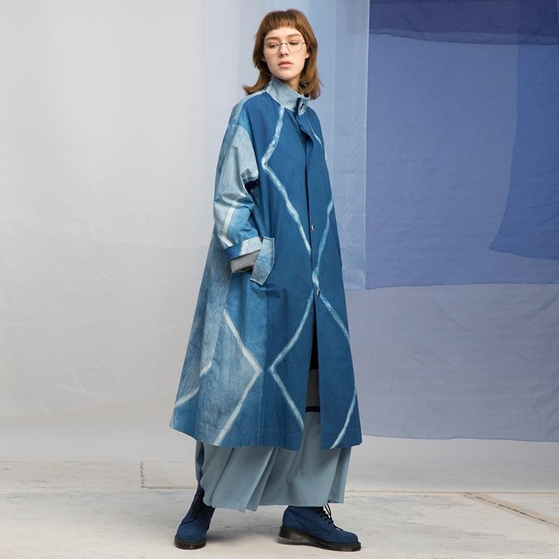 Conception originale printemps 2018 coton teint en vrac long trench coat femmes