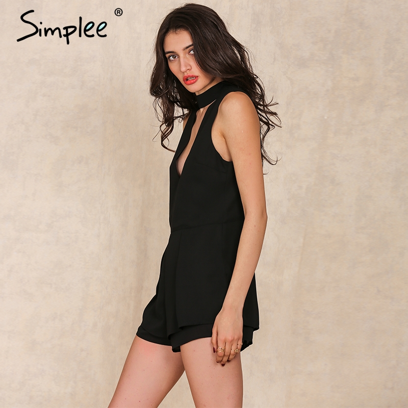 2d06679199 Simplee Apparel Spring deep v neck chiffon jumpsuit Women elegant halter  romper Pleated short playsuit Sexy