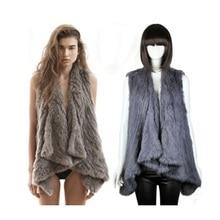 HarppihopReal Rabbit Fur Vest Women Knitted Gilet Handmade Female Trend Nature Waistcoat Export
