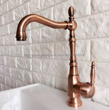 Basin Faucet Antique Red Copper Single Handle Bathroom Kitchen Faucet Swivel Spout Vessel Sink Mixer Tap Deck Mounted Bnf417 все цены