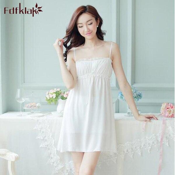f597d9c6f4 New Spaghetti Strap Cotton Lovely Princess Style Female Nightgown Sexy  Palace Women Nightwear Summer Night Dress Sleepwear