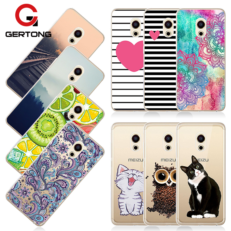 GerTong Painting Phone Case for Meizu M5 Note M5C M5S Pro 7 plus Soft TPU Fruit Flowers Totem Railway Patterned Cover Shell