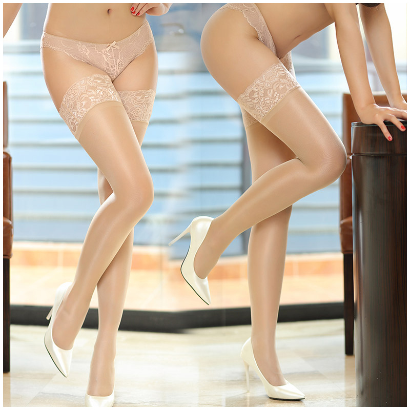 Nylon Sexy Women Stockings Thigh High Stockings Shiny Pantyhose Female Lace Top Silicone Stay Up Over The Knee Socks Medias