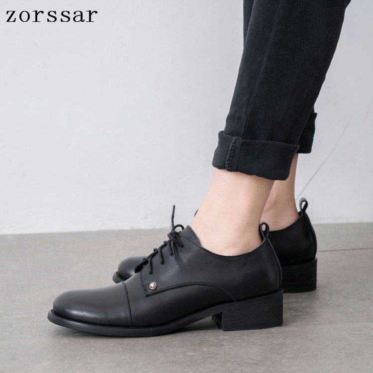 Flats British Style Oxford Shoes Women Spring Soft Leather Oxfords Flat Heel Casual Shoes Lace Up Womens Shoes Retro Brogues in Women 39 s Flats from Shoes
